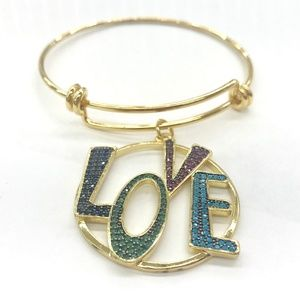 Jewelry - Stainless Steel Bangle w/ FASHION LOVE PENDANT